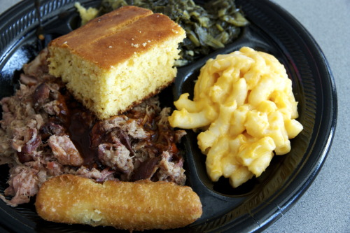 TJ's Dinner Plate (pulled pork, mac & cheese, turnip greens, cornbread, and fried pickle) @ Brookwood Farms BBQ in the Charlotte Douglas International Airport  En route to Cancun, stopped in Charlotte, so I had to get my Carolina BBQ fixin'.