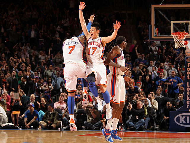 Jeremy Lin and Carmelo Anthony celebrate the Knicks victory over the Raptors, the team's fourth straight win since Mike Woodson took over as coach. Anthony scored 17 points while Lin added 18 points and 10 assists. The Knicks are a half-game ahead of the Bucks for the final playoff spot in the East. (Nathaniel S. Butler/NBAE via Getty Images) POWER RANKINGS: See where the Knicks and Raptors rank this weekGALLERY: Rare Photos of Carmelo Anthony