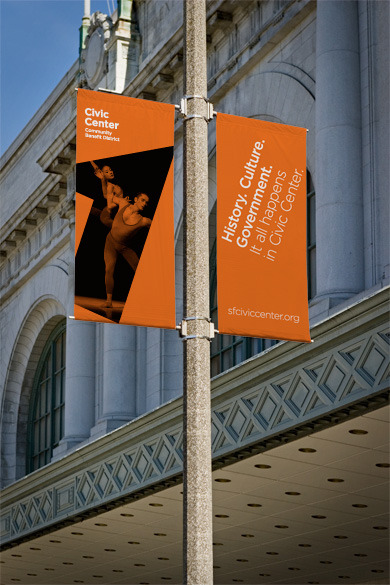 Banners from the new identity for San Francisco's Civic Center, based on the Civic Center Community Benefit Districts' footprint on a map, designed by Dowling | Duncan.
