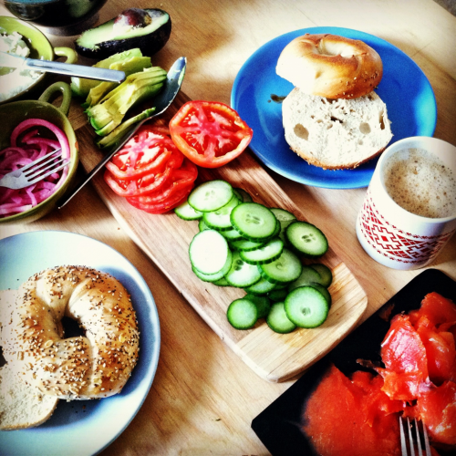 Weekend breakfast: bagels, smoked salmon, and a few fixins.