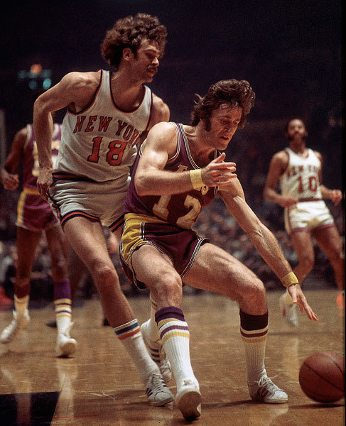 Phil Jackson guarding Pat Riley during a '72 Knicks-Lakers game. The socks! The shorts! The hair! THE STACHE.