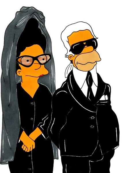 vaffanculomag:  Diane Pernet and Karl Lagerfeld Fashion Simpsons by AleXsandro Palombo