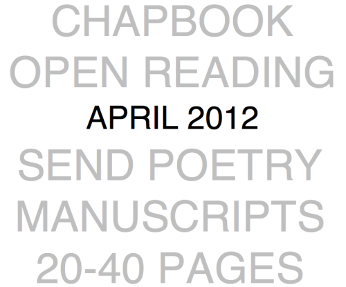 Radioactive Moat Press is hosting an open reading period for chapbook manuscripts of poetry during the month of April. We'll be selecting one of those manuscripts in early May to publish as a print chapbook.For chapbook guidelines, click [here]Our first print chapbook was Feng Sun Chen's Ugly Fish. You can read it [here] if you haven't already.
