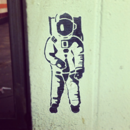 spaceman found in the subway.