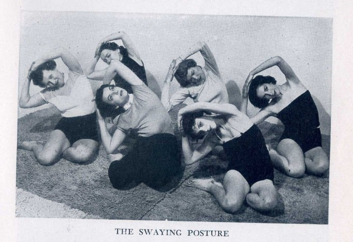 "I love the mischievous one on the far left.  Found on Rachel and Yoga. From Indra Devi's ""Yoga For Americans"""