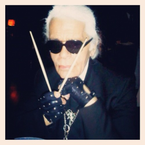 v-magazine:  Karl pitching a V cover!  (Taken with instagram)  Te amo
