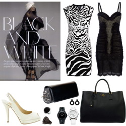 Black & White by erihang featuring clip earringsWorth Paris bustier dress, £1,499McQ by Alexander McQueen black white dress, £310Jimmy Choo peep toe pumps, $665Christian Louboutin genuine leather handbag, $1,995Prada shop handbag, £1,065Movado water resistant watch, $995Leather strap watch, $595Roberto Cavalli stone ring, £364Marni clip earrings, $280Wallis resin jewelry, $3.50