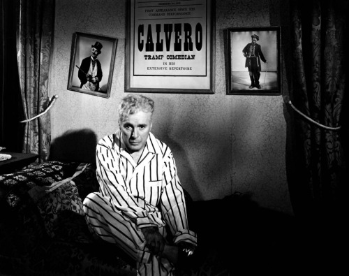 fuckyeahchaplin:  Charlie in Limelight c.1952 (note the poster behind him calls his character Calvero a Tramp Comedian)