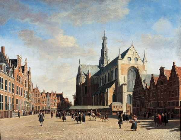 "The art: Gerrit Berckheyde, The Grote Markt and St. Bavokerk, 1696.  The news: ""Why People in Cities Walk Fast,"" by Eric Jaffe for The Atlantic Cities. The source: Collection of the Frans Halsmuseum, Haarlem. Note: Thinking about Eric Jaffe's story reminded me that you pretty much never have a Dutch Golden Age market-scape without having people walking through it…"