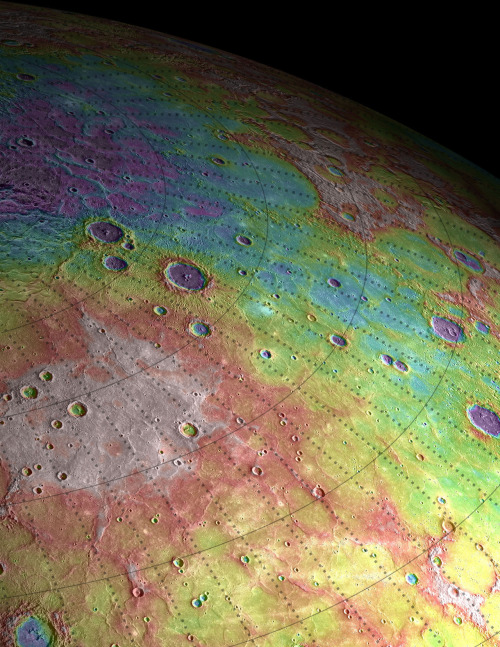 "Mercury surprises: tiny planet has strange innards and active past Using observations from NASA's Messenger spacecraft in orbit around Mercury, researchers observed that the floors of many craters have been tilted substantially. Part of the floor of the Caloris basin has even been raised above its rim. This suggest that internal forces pushed the craters up after the impacts created them, providing strong evidence that Mercury remained geologically active long after its formation. Researchers also estimated Mercury's gravity field by precisely radio-tracking Messenger's movements around the planet. From these estimates, they determined that Mercury has ""mascons"" (short for ""mass concentrations""), which are large positive gravity anomalies associated with big impact basins. The team's gravity calculations also suggest that Mercury has an iron core that comprises roughly 85% of the planet's radius. (For comparison, Earth's iron core covers about half of its radius.) Further, it looks like a layer of solid iron sulfide overlies Mercury's core — a feature not known to exist on any other terrestrial planet. The new findings shed light on Mercury's past, and on the formation and evolution of rocky planets in general. But they also serve to remind scientists that they're in for many more surprises as they continue to probe the solar system's many mysteries. Above: Perspective view of ancient volcanic plains in the northern high latitudes of Mercury revealed by NASA's Messenger spacecraft."