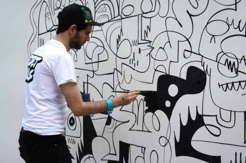 Jon Burgerman at Secret Walls in Austin TX/ SXSW 2012