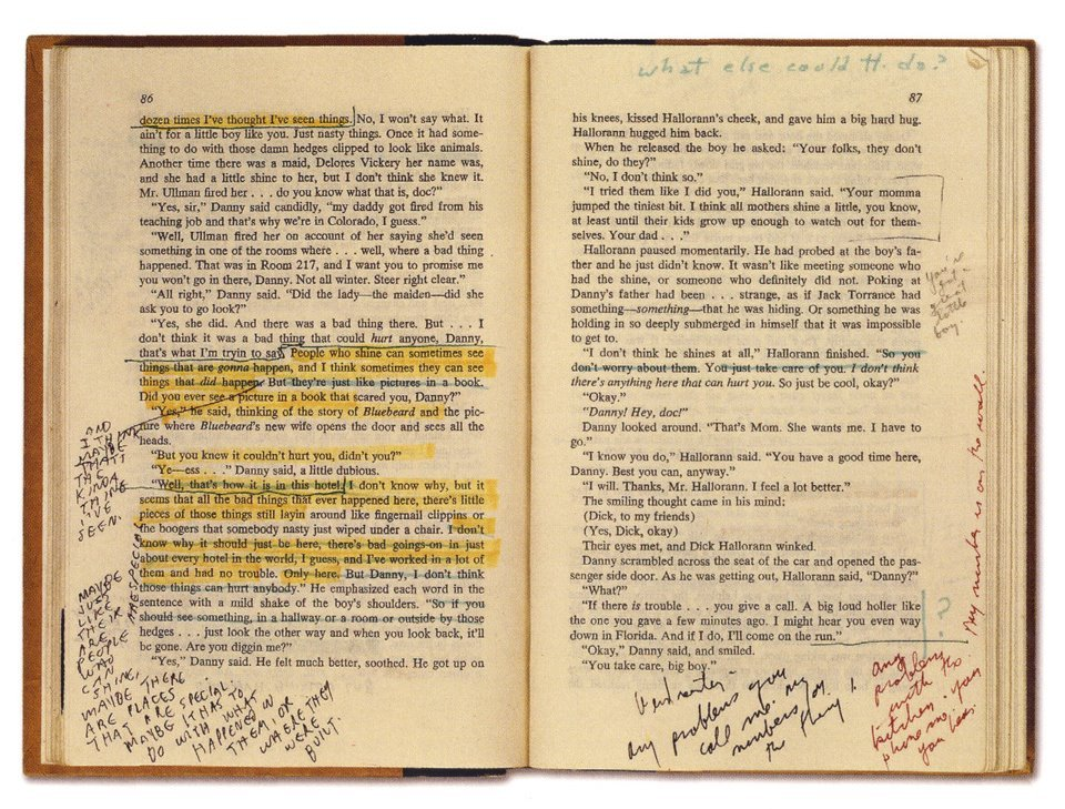 Stanley Kubrick's copy of The Shining, note the edits. [via]
