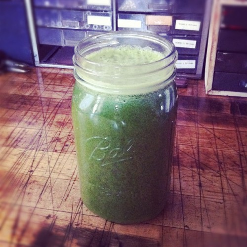 Best green juice yet. Includes an entire bunch of spinach, 1/2 head of romaine lettuce, kale, ginger, pineapple, granny smith apple. So good.