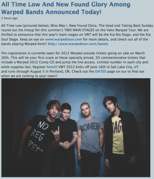 All Time Low And New Found Glory Among Warped Bands Announced Today!!  All Time Low, Miss May I, New Found Glory, The Used and Taking Back Sunday round out the lineup for this summer's TWO MAIN STAGES on the Vans Warped Tour. We are thrilled to announce that this year's main stages on VWT will be the KIA RIO STAGE, and the KIA SOUL STAGE.REBLOG!