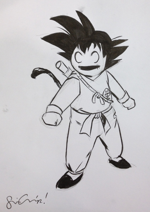 sinagrace:  Li'l Depressed Goku (from #WonderCon)  Oh my goodness — is there a high rez scan of this somewhere?  I want to colour this sooooooooo much.