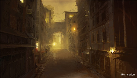 An alley at night in Republic City