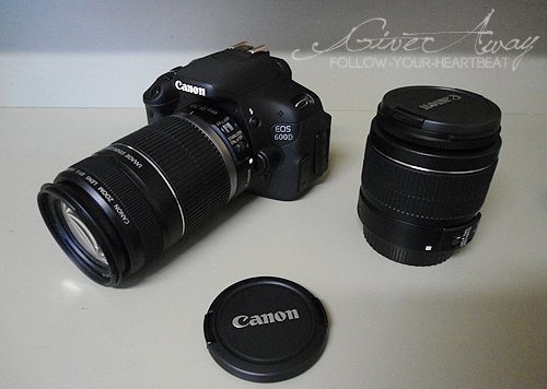 Canon EOS 600D & Twin Lens kit given away! (the camera in the picture is my friend's one, the one you'll win - totally the same - is in its box ready to be sent) In order to gain some new followers my friend who had two of these, decided to sell this camera for a really low price so I could pay it and give it away - I already have one - so why don't you participate? it's easy: Reblog this post (as many times as you want but try not to bother your followers, like if you want but you won't win by liking it) Follow my blog [ X ]  follow-your-heartbeat additional info:  it doesn't matter where you live, the camera will reach you in case you win. The giveaway ends by April 30th I must gain 300+ followers by that day or there will be no giveaway (so tell your friends to join) The winner will be a random URL. Now, Reblog and Good Luck ♥