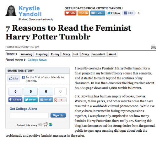 """7 Reasons to Read the Feminist Harry Potter Tumblr"" in The Huffington Post."