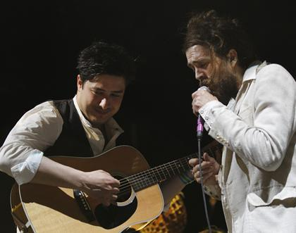 Marcus Mumford of Mumford & Sons and Alexander Ebert of Edward Sharpe and the Magnetic Zeros perform on the final night of SXSW in Austin, Texas on March 17, 2012. Photo by Jack Dempsey/AP Images for Myspace.
