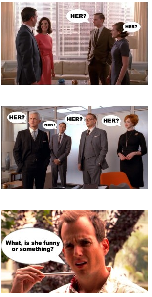 The office of Sterling Cooper Draper Price reacts to Don and Megan's engagement. Quick secretary recap: Allison - Don bangs her, breaks her hearts. She throws a brass globe at his head and quits. Miss Blankenship - Old lady who DIES in her chair at work because Don is that sexy. Megan: Also gets banged by Don… but then gets a ring. Let's sing the wedding song: Here comes the temporary solution to sadness! Here comes the temporary solution to sadness!