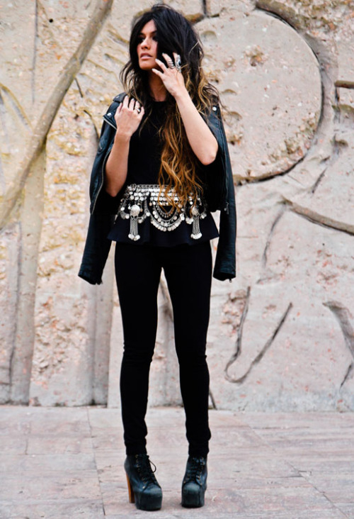 what-do-i-wear:  TOP H&M, PANTS Mango, BELT Las Dalias, LEATHER JACKET Topshop, SHOES Jeffrey Campbell (image; madamederosa)