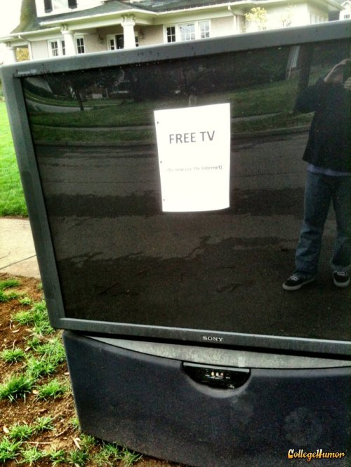 "Free TV: ""We Now Use The Internet""   It's a lot easier to steal someone's WiFi than it is to steal their cable."