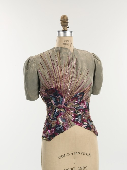 yeoldefashion:  A gorgeous sequined evening blouse from Schiaparelli's Fall-Winter 1938-1939 collection.