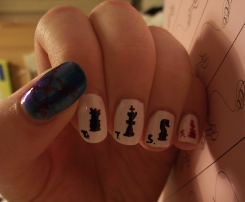 Tinker Tailor Soldier Spy nails!!~~ :D Designed by me