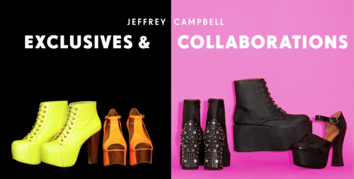Newsflash: The 90's inspired collaboration between Jeffrey Campbell and Nasty Gal  have us reminiscing of the decade where fashion risks were a MUST. We are loving the embellished heel of the Orion Studded Boot and the slightly witchy vibes of the  Angela Platform! We are loving their first collaboration and can't wait for more!