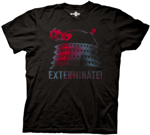 There's a new Limited Edition Doctor Who: Dalek T-Shirt in the BBCAmerica Shop  Limited Edition! Strike terror into the hearts of friends and enemies, and watch them cower in the face of threatened extinction! Or perhaps they'll smile at your villainous red Dalek. A supremely satisfying T-shirt for Doctor Who fans. Black with a red, purple and greyish-blue design that seems to pulsate with energy.