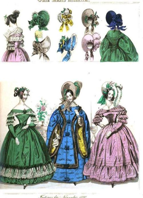 The Beau Monde, November 1837.  Oooh!  I love that green gown.  And that blue cloak is quite a statement piece!