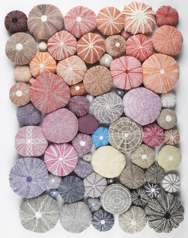knitted sea urchins by Patricia Bown
