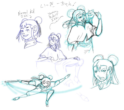 More doodles of Ikki from The Legend of Korra. (young and old)  Yes, she's a hilarious troll on the fandom, but that's why I love her. XD