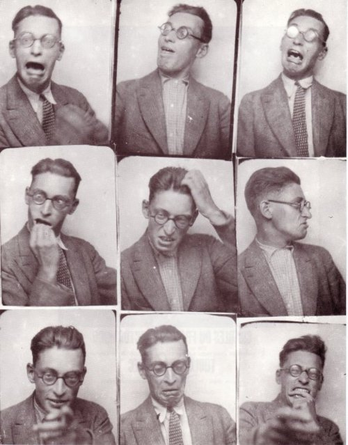 "Raymond Queneau having fun in a photo booth. The French author was associated with the Surrealists before founding Oulipo, the ""Ouvroir de littérature potentielle,"" a writing workshop that uses constraints to explore ""potential literature."""
