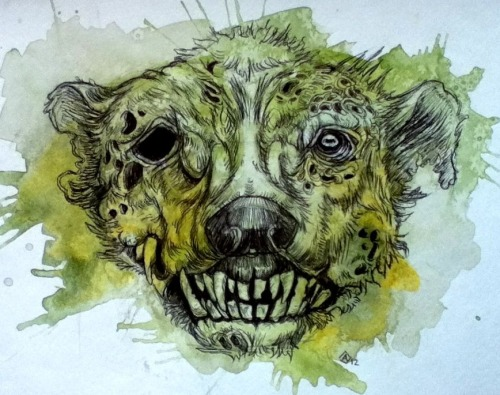 Artist  Abby Diamond - A badger zombie. On Tumblr: finchfight.tumblr.com
