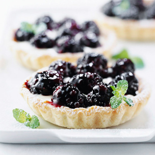Daily Dish: These Lemon-Blackberry Mini Tarts are filled with a yummy lemon curd and cream cheese mixture.