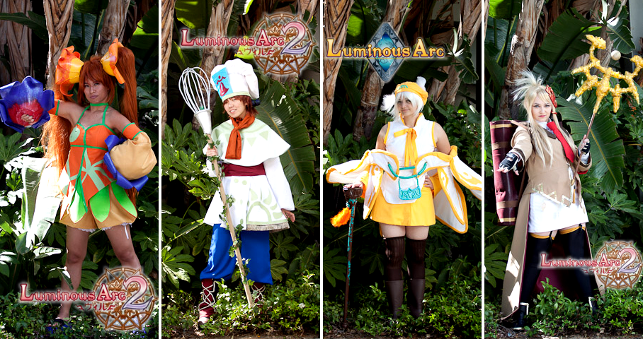 Friday at at Anime Expo 2010, my gals and I did a Luminous Arc 1 & 2 cosplay group.  It's a pretty unrecognized costume set, but appreciated by it's few fans. Our Lucia dropped by the Atlas (the game's US side of the company) booth and no one there knew her! I took some of our preliminary photoshoot images to make little game-esque pinups of each person's costume. We revisted the costume group again in 2011 with a slightly different character set. From left to right:Pop by XayniePip by JruLucia by LexxDia by ElfGrove Submitted by elfgrove