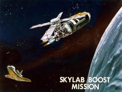 fuckyeahspaceexploration:  SkyLab mission that never happened.  I sometimes wonder what the space program would look like now had the space shuttle visited Skylab.