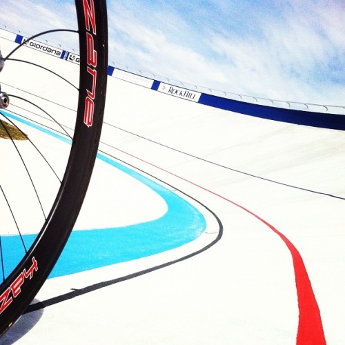 "TWOTONEATL SCOPES GIORDANA VELODROME   A gorgeous first look at the surface of USA's newest velodrome in Rock Hill, South Carolina.  Photo by Jon ""TwoTone"" Woodroof during the opening ceremony last weekend.  I'm looking forward to seeing more of this brand new track."