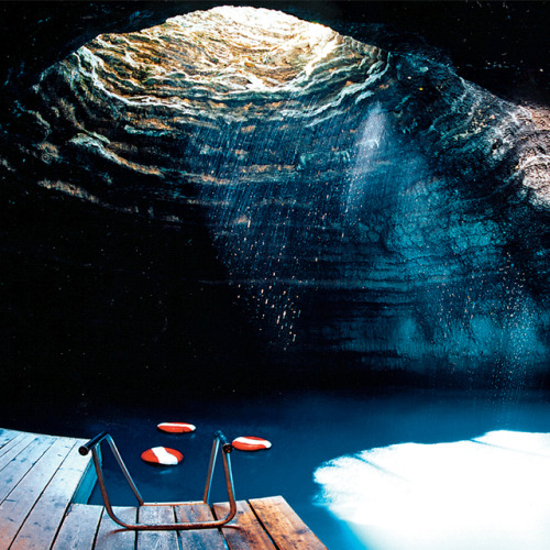 floating dock in a cave swimming hole