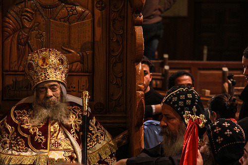 journalofajournalist:  The funeral of Pope Shenoda III. The late Coptic Pope's body was displayed for mourners at the Abbasiya Cathedral in Cairo for days. (by Mosa'aberising)  Fascinating that they justlet him lie in place for so many days.