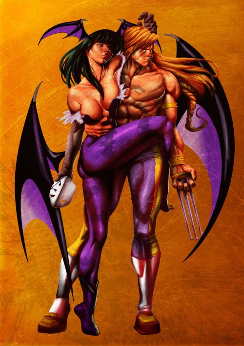 Morrigan & Vega // artwork by Brian Fajardo (2008)