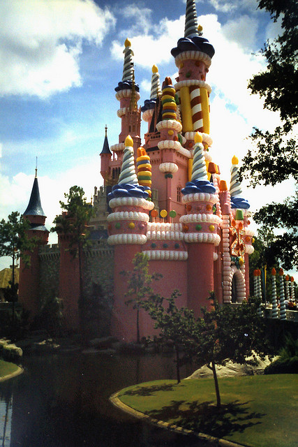 Walt Disney World 1997 by trecrowns on Flickr.Via Flickr: Cinderella's Castle - on the left, you can see the small part of the castle that remained without a coating (a concession to those who had never seen the castle before).