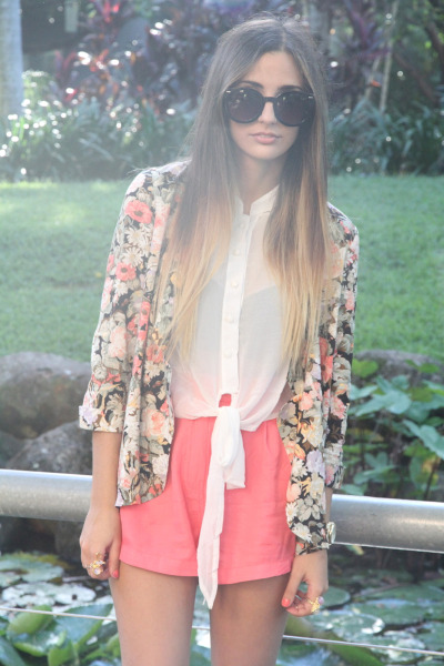 streetstyled:  Sabo skirt wears: Mink Pink Floral Blazer, SABO SKIRT Resort Tie Top, Madison Square Shorts, Vintage Sunglasses, Novo Heels, Michael Kors Watch, Sportsigrl Thin Gold Rings