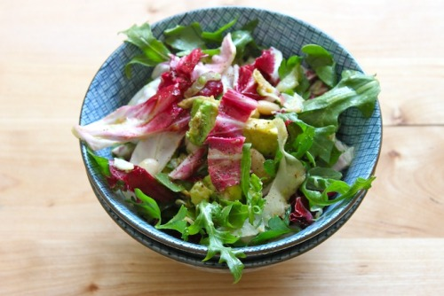 arugula and radicchio salad with crispy fennel, cannellini beans, avocado, and lemon vinaigrette