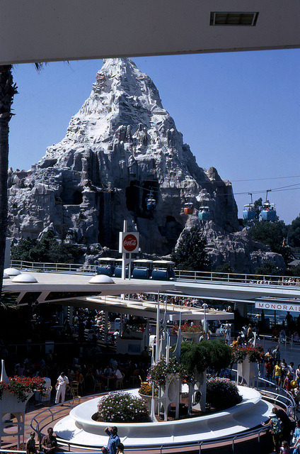 The People Mover in Front of The Matterhorn in Disneyland in 1967 by drewpost on Flickr.