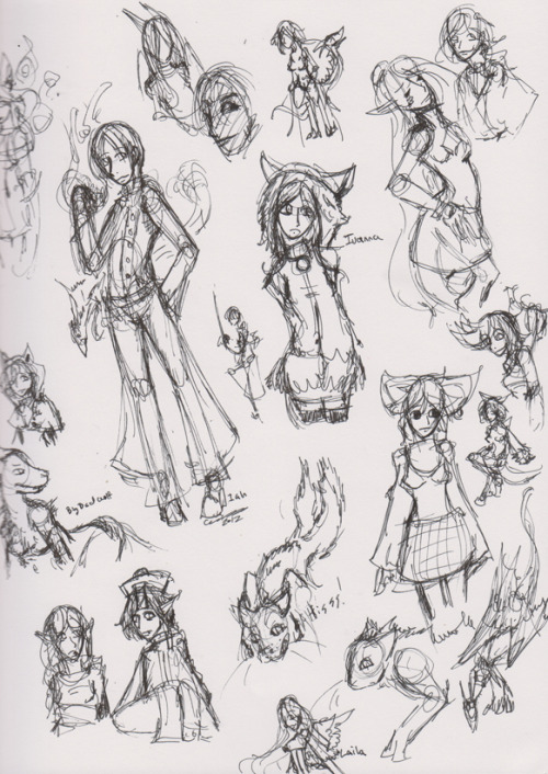 and because I feel bad for not posting often, a page of random doodles I did while plotting out things.