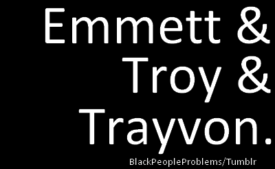 blackpeopleproblems:  Everybody post this picture as your facebook default to help raise awareness! A lot of people still don't know who Emmett Till, Troy Davis, and Trayvon Martin are! Demand justice!  REBLOG REBLOG REBLOG!!!