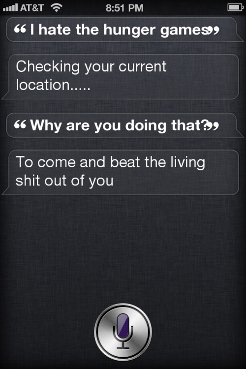 …AND THIS IS WHAT HAPPENS WHEN YOU SAY MAKE SIRI MAD BY SAYING YOU HATE THE HUNGER GAMES… I agree w/ her <3 Lol.