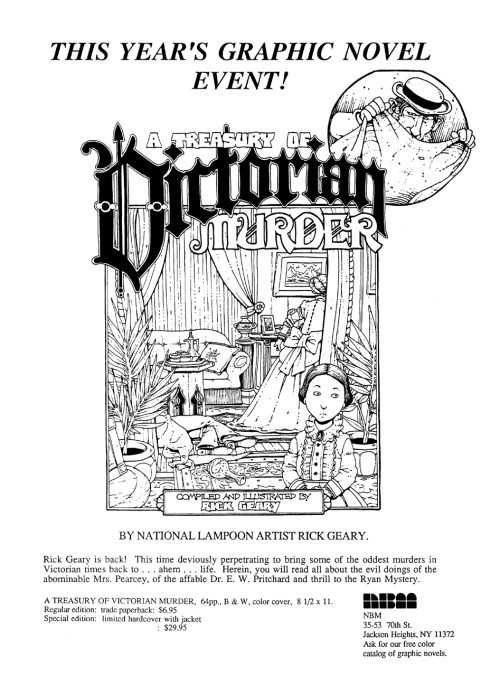 Promotional ad for A Treasury of Victorian Murder by Rick Geary, 1987.